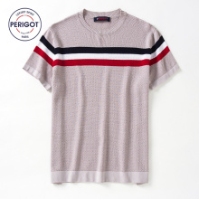 PERIGOT PGM1766 2017 New Summer Men's Short Sleeve Knitted Sweater T-shirt Male Contrast Color Stripe O-neck Casual Tee S-XL