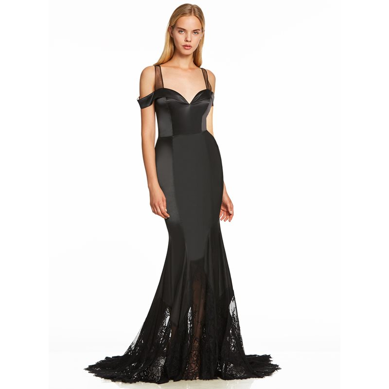 Dressv black long   evening     dress   mermaid sweep train cheap straps wedding party formal   dress   trumpet lace   evening     dresses