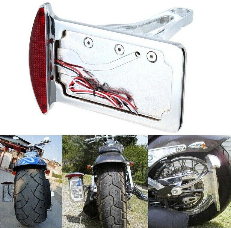 Pièces de rechange livraison gratuite moto courbe plaque d'immatriculation feu de frein arrière adapté pour chromé monté sur le côté