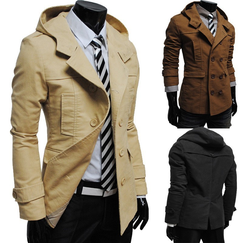 Men Hooded Blazers Suits Slim Fit Suit Cotton Jacket Brand High