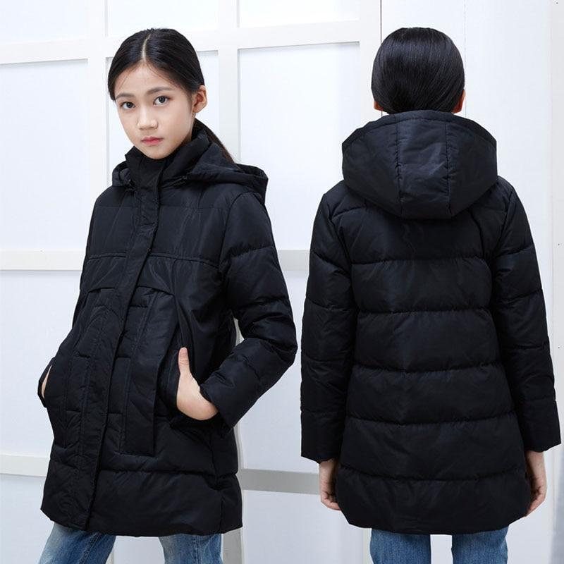 ФОТО 2016 Girls Thick Duck Down Parka Kids Winter Warm Coat Long Jacket Children Outerwear Coats Winter Jacket Size 110-150