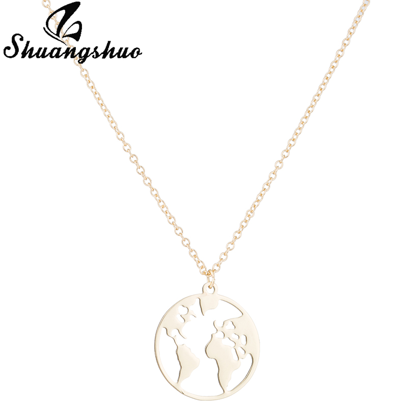 Shuangshuo Vintage Origami World Map Necklace Women Geometric Necklace Round Necklace Circle Necklaces & Pendants Choker Jewelry 9