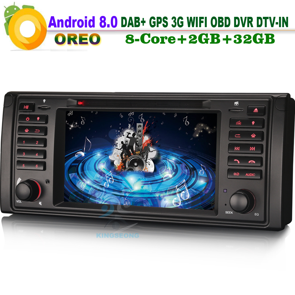 8-Core Android 8.0 Car CD player Head Unit GPS DTV-IN DVD CAM-IN AUX OBD Sat Navi DAB+ Radio WiFi 3G OBD FOR BMW E39 X5 E53 M5