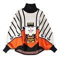 2017 Primavera Nueva Manera de La Señora Suéter Manga Murciélago LEGO Robot de Dibujos Animados Bordado Suéter Cabeza