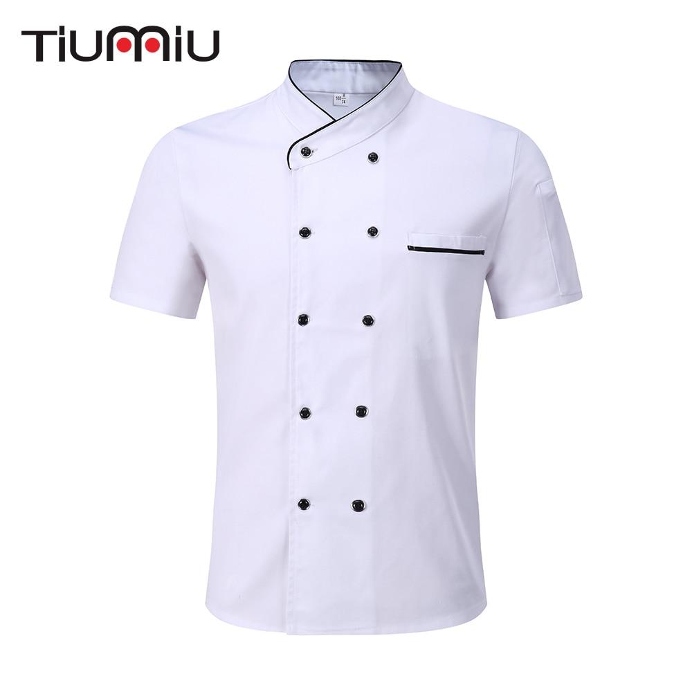 Wholesale Black White Unisex Kitchen Chef Uniform Short Sleeve Double Breasted Cook Wear Chef Jacket & Apron Bakery Food Service