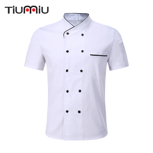 Borong Black White Unisex Kitchen Chef Seragam Lengan Pendek Double Breasted Cook Wear Chef Jacket & Apron Bakery Food Service