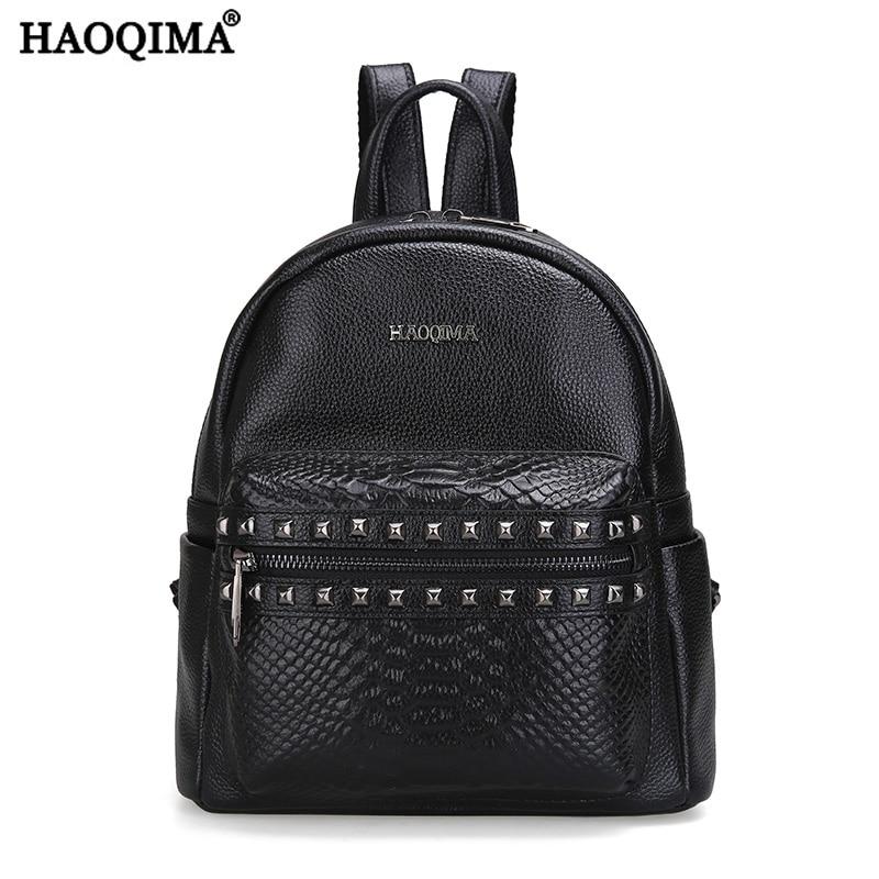 HAOQIMA Famous Girls Genuine Leather Backpacks Fashion Brand 2017 Real Cowhide Women Backpack Girl School Bag Sack