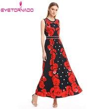 Женское длинное платье с цветочным принтом, летнее платье с круглым вырезом, повседневный пляжный без рукавов, богемные платья, тонкое винтажное платье макси, сарафан, Vestido