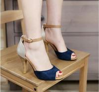 2018 The New Color Block Decoration Small Yards Open Toe Sandals Sexy Plus Size 34 43 Thin Heels High heeled Women Shoes
