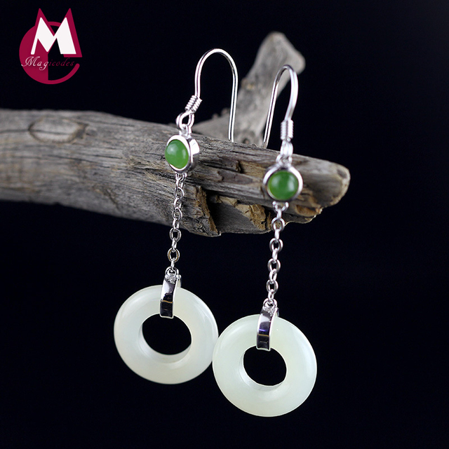 100 925 Sterling Silver Earrings Punk Round Natural White Chalcedony Jade For Women Fine