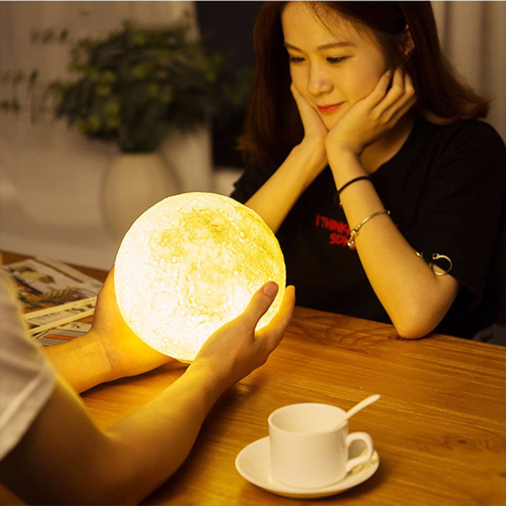 Usb Touch Bedside Lamp 3d Printing Moon Lamp Luminarias Bedroom Light Romantic Night Light Powerbank Led Energy Saving Lamp