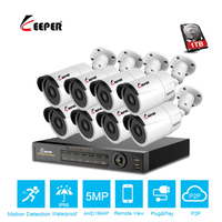 Keeper CCTV camera System 8CH 5MP 1944P AHD security Camera DVR Kit CCTV waterproof Outdoor home Video Surveillance System HDD