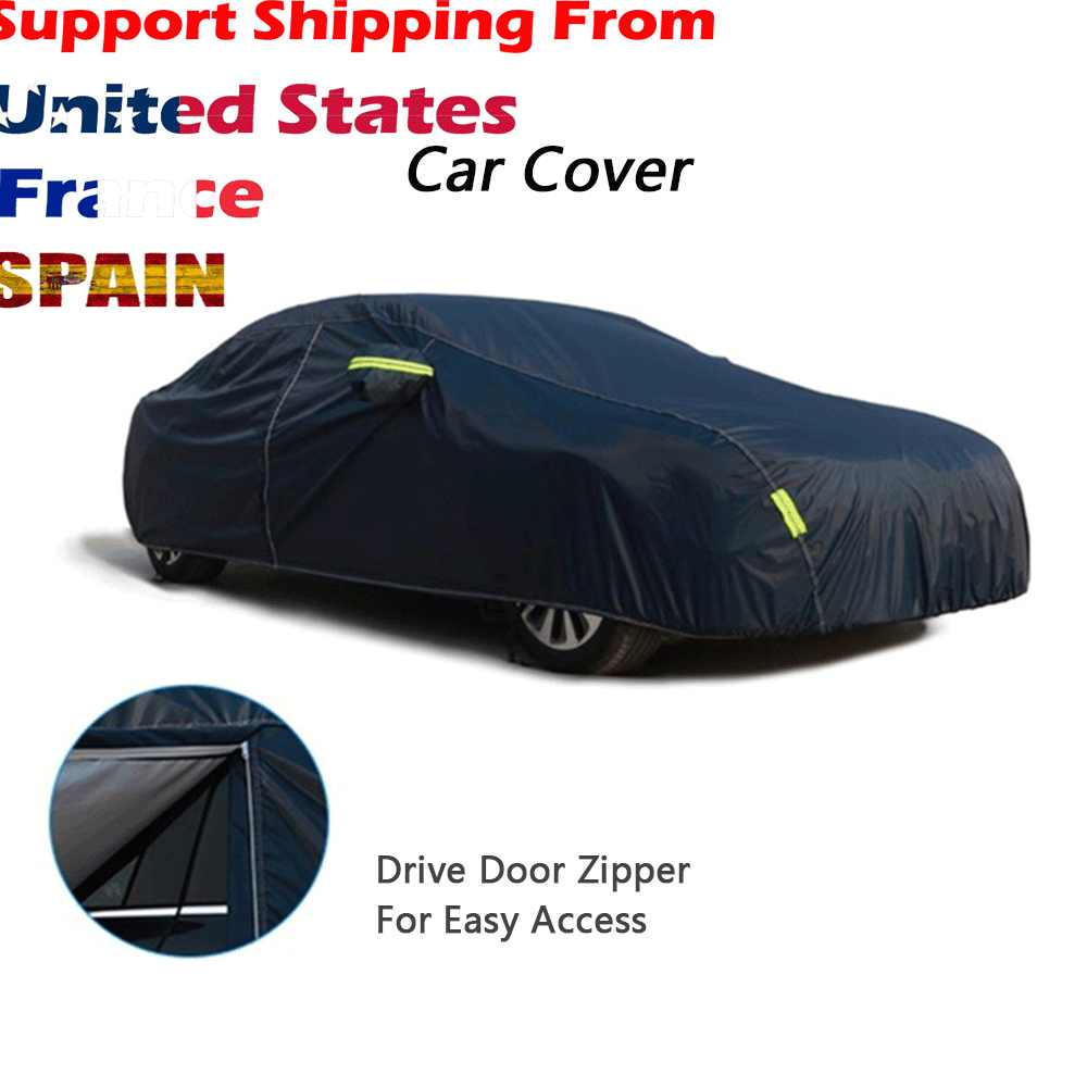Durable Universal Waterproof Full Car Cover,Snow Ice Waterproof Dust Sun UV Rain Shade Cover Outdoor Protector for All Season
