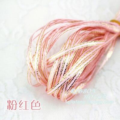 (10 Metri/lotto) 1/8 ''(3mm) Coral Pink Metallic Glitter Nastro Colorato Regalo Del Partito Del Pacchetto Nastri Bordo Oro Fai Da Te Contenitore Di Caramella Dicembre