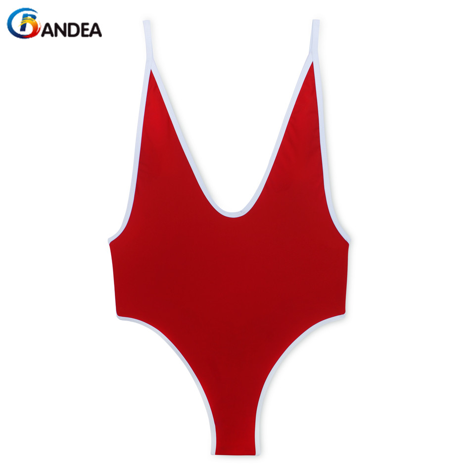 BANDEA high cut swimsuit women thong swimwear sexy deep v one piece bathing suit backless monokini patchwork bodysuit beachwear qi dian sexy plunging neck flouncing high cut push up monokini bathing swim suit for women thong swimwear one piece swimsuit ql0