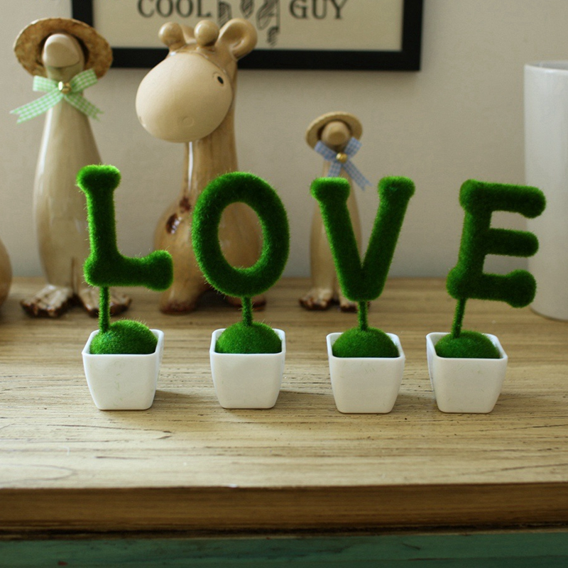 Desktop houseware furnishings green artificial flowers for House decoration products