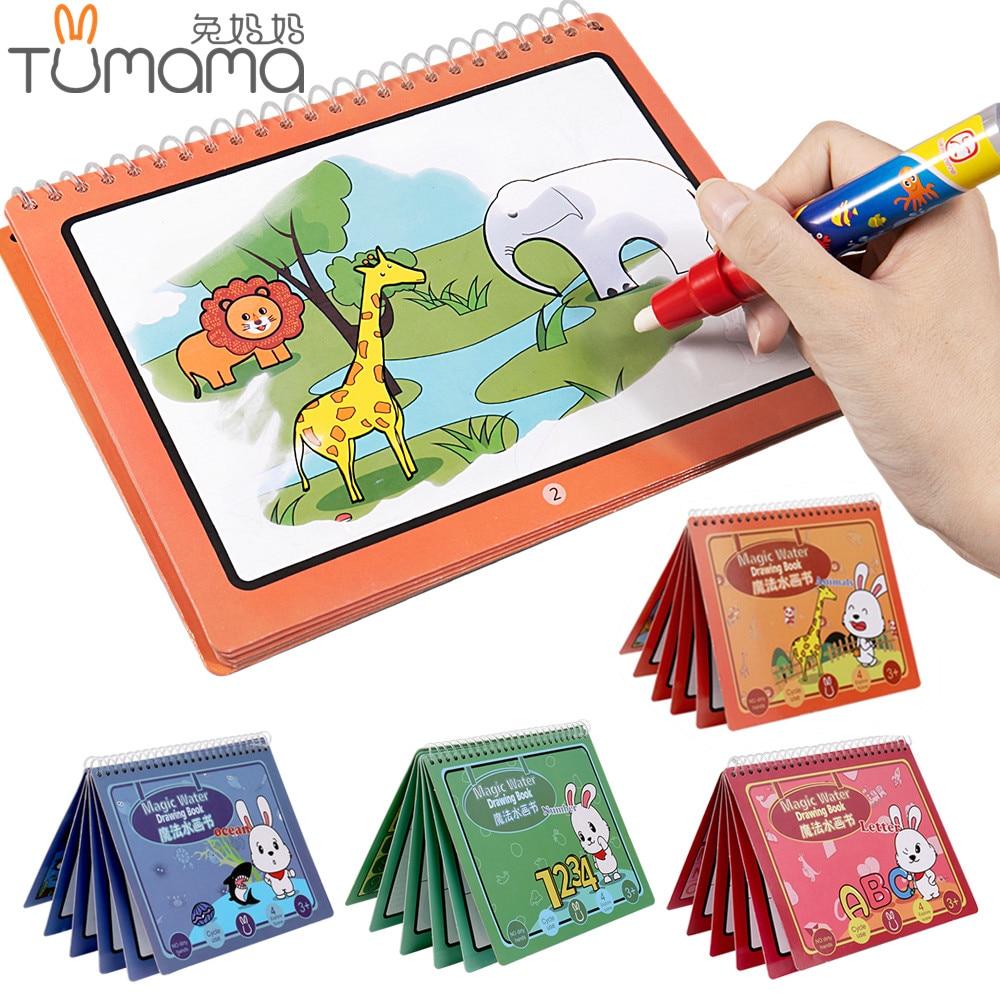 Tumama Magie de L'eau Dessin Livre Animal Vie Marine Nombre Lettre Magique Coloring Livre Doodle Peinture Planche à Dessin Jouets Pour Les Enfants