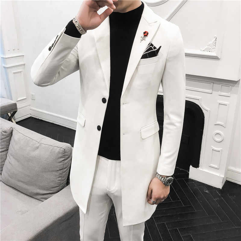 Classic Men Long Suits Fashion Business Banquet Mens Suit Jackets and Pants Size 3XL Slim Design Men Wedding Suits