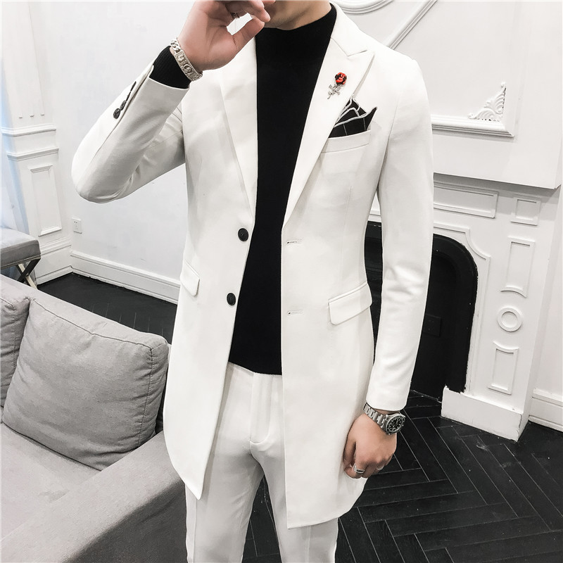 Classic Men Long Suits Fashion Business Banquet Mens Suit Jackets And Pants Size 3XL Slim Design Men Wedding Suits