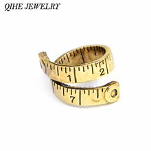 QIHE JEWELRY Ancient Gold Silver Color Measuring Tape Explore Ruler Wrap Cuff Open Ring For Women