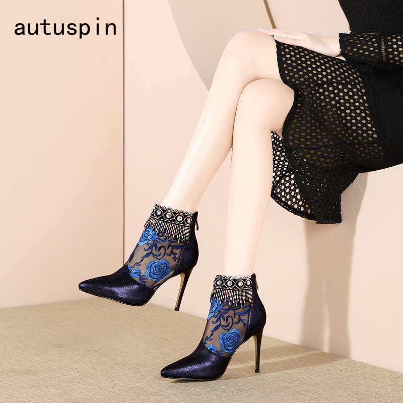 Azul Mujeres Verano Botas Alto Las Elegante Tacón Fiesta Primavera Punta Arranque Zapatos Transpirable De Mujer Autuspin Señoras Oficina Moda w1fUF