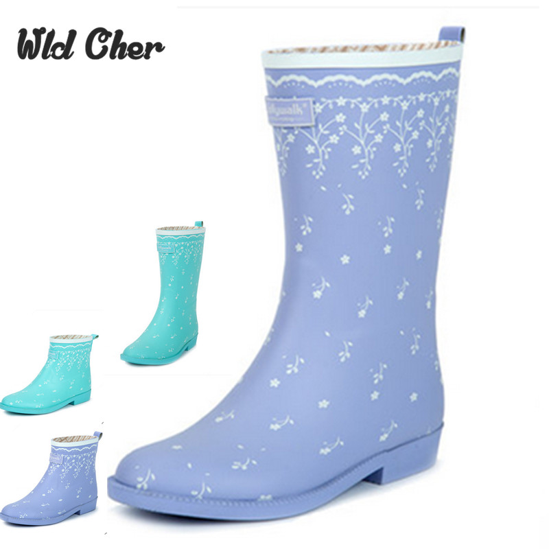 high Niña Marca Novedad Lluvia Azul 35 azul Mujer 2 2017 Impermeables high Botas De Estilo 40 Moda Cielo Para Cortas AURCAxqP