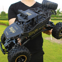 1:12 Large 38cm Golden Alloy RC Cars 4WD Radio Control LED Light Toys Trucks Off-Road RC Cars Toys for Children Christmas Gifts