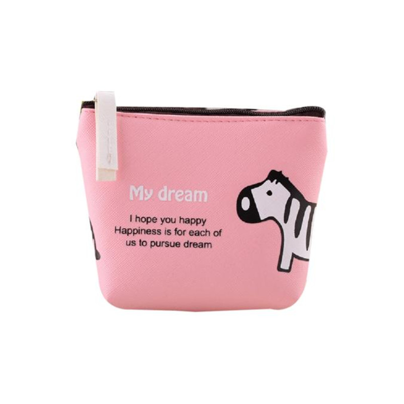 Boys Girls Cute Cartoon Animal Coin Purses Artificial Leather Zipper Small Wallet Change Pouch Key Card Holder Clutch Handbag #Y 2017creative cute cartoon coin purse key chain for girls pu leather icecream cake popcorn kids zipper change wallet card holder