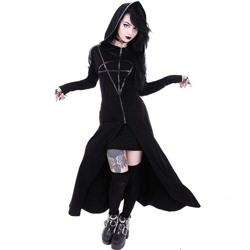 Autumn Gothic Long Hooded T Shirt Women Hoodies Long Sleeve Overcoat Streetwear Goth Casual Fashion Ladies Cool Black Outerwear