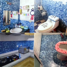 Mosaic stickers toilet bathroom tile bathroom waterproof wallpaper self-adhesive floor stickers home kitchen oil free shipping sea blue glass mosaic tile outdoor wall floor tile swimming pool kitchen shower mosaic hot melt wallpaper lshm06