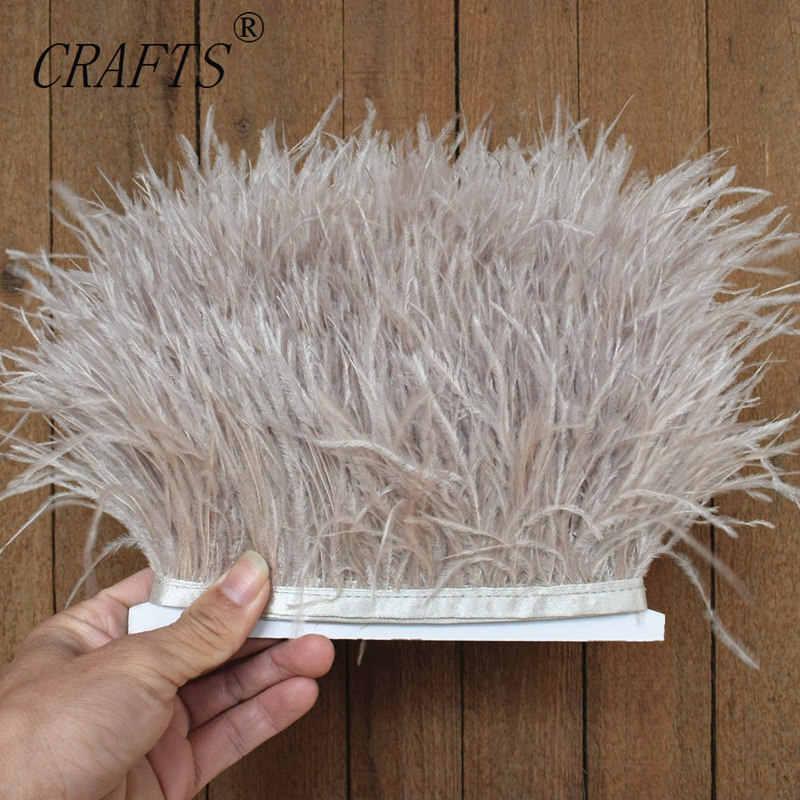 Haute qualité moelleux autruche plume coupe tissu bande latérale 5M 10M long bricolage accessoires de vêtements accessoires décoratifs 8-11cm