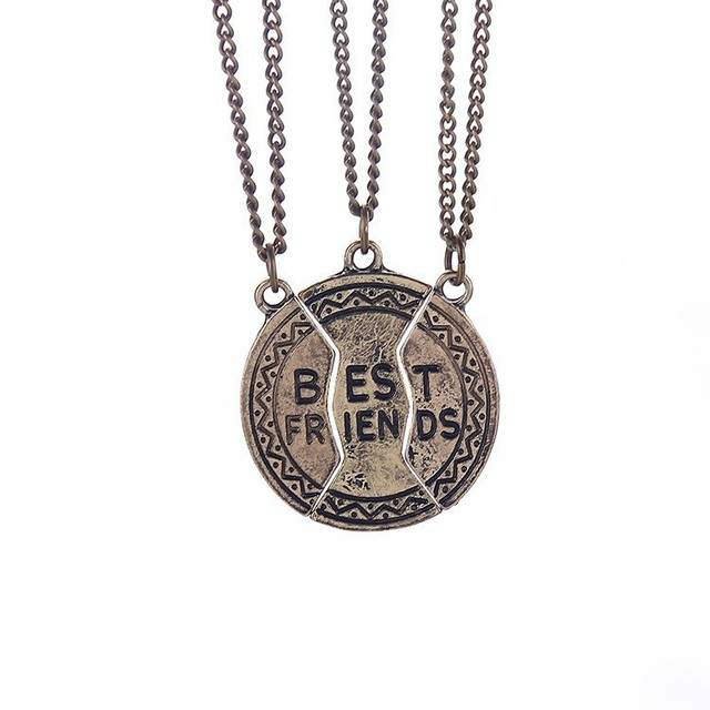 Friendship Pendant Necklace New best friend necklace vintage coin round 2 and 3 parts friendship new best friend necklace vintage coin round 2 and 3 parts friendship pendant necklaces audiocablefo
