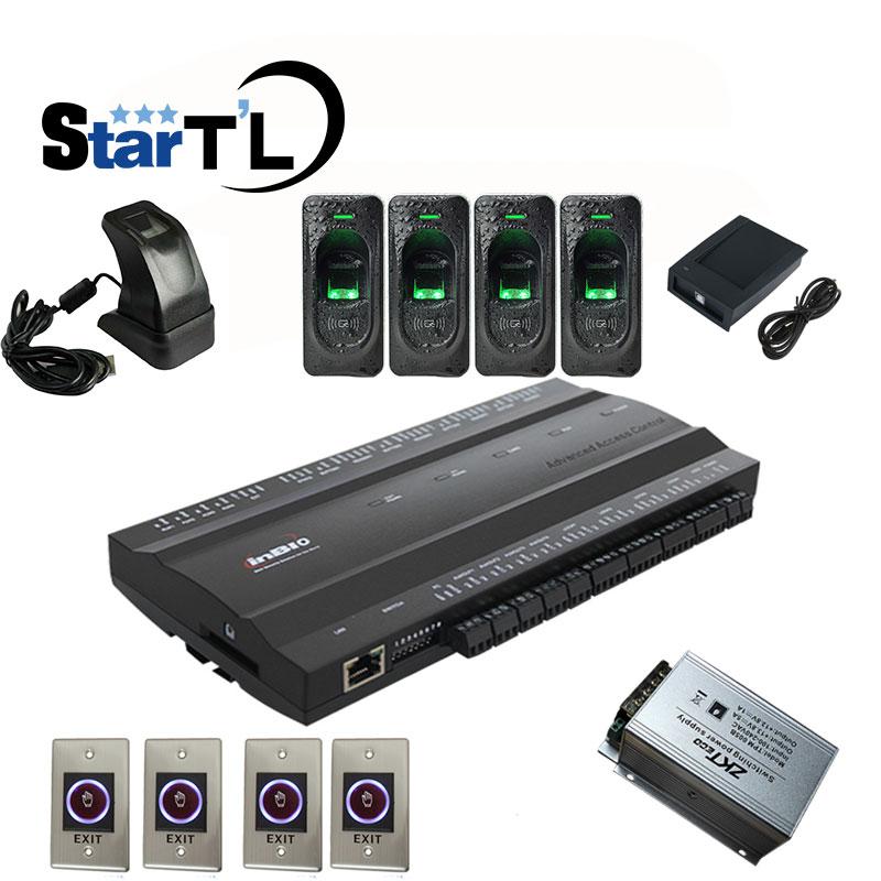 Inbio460 Kit Fingeprint & Rfid Card Access Control Panel Four Door Access Access System+FR1200 Fingerprint Reader+ZK4500 Reader
