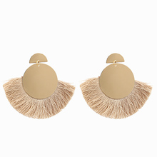 Vintage Geometric Tassel earrings For Women Bohemia Alloy Disc Fringe Earring Big Pendant Earing Fashion Jewelry