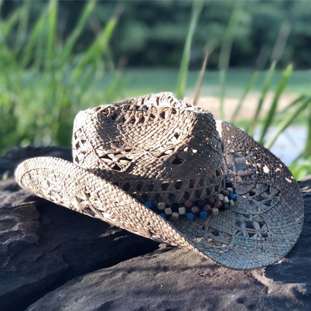 2022women Hat Western Cowboy Hat Hand Made Beach Felt Sunhats Party Cap For Man Woman Raffia Hollow Cowboy Hat With Punk Rope