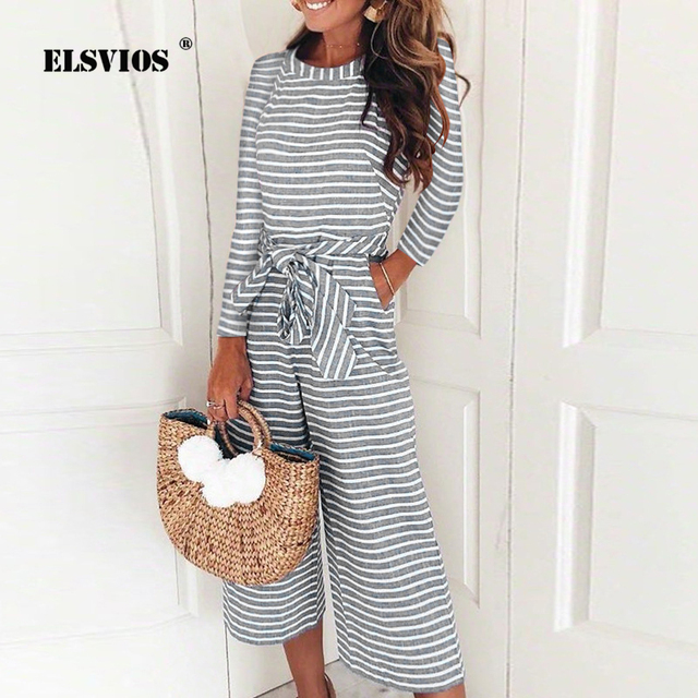 c57b7974a5a ELSVIOS 2018 New Long Sleeve Elegant Striped Jumpsuits Women Autumn Wide  Leg Pants Pocket Rompers Sexy