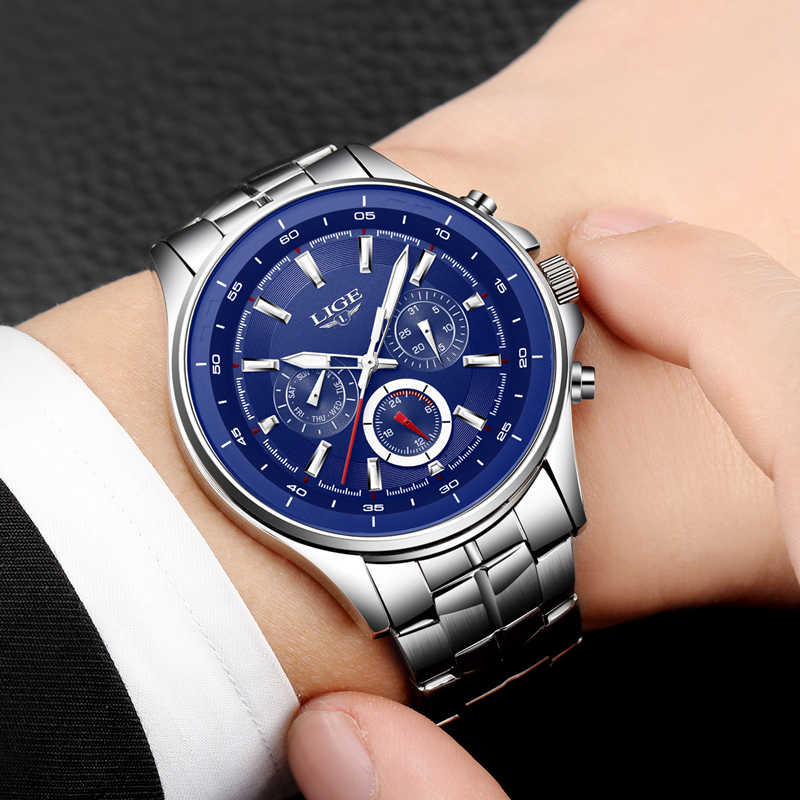 2018 LIGE Mens Watches Top Brand Luxury Quartz Watch Men Fashion Business Watch Casual Sport Wristwatch Clock Relogio Masculino