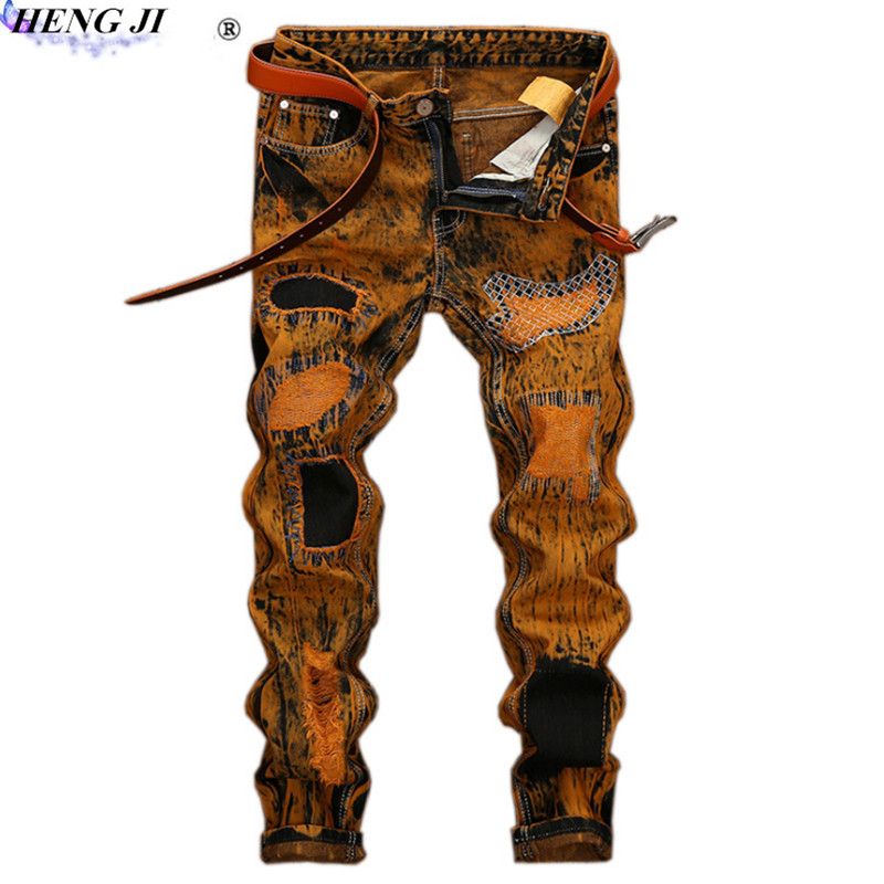 Vintage mens straight jeans, trim, fold, cat beard, make old, European version, ripped jeans, high quality, free shipping