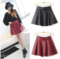 Women Black Red Faux Leather Mini Skirt High Waisted Flared PU High Waisted Pleated Skater Short FA02