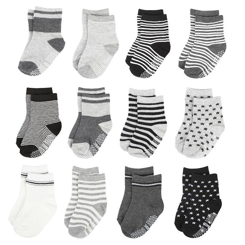 12 Paare/los Gestreiften Baby Baumwolle Elastische Socken Neugeborenen Baby Jungen Nicht-slip Socke Mode Kleinkind Kid Socken 1-3y
