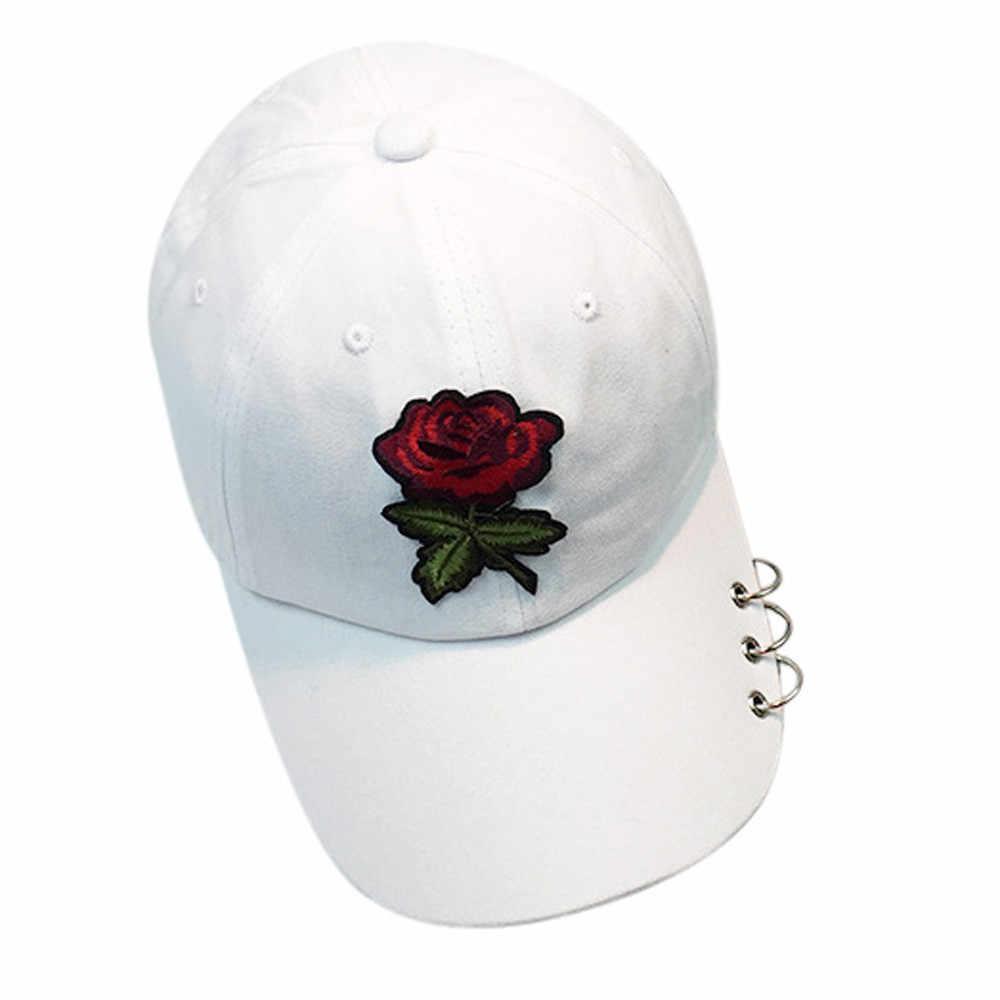JAYCOSIN 1 PC czapka z daszkiem mężczyzn kobiety haft Rose Hat Unconstructed moda czapka unisex czapki z pierścieniem Sunhat do tańca zostało uruchomione Apr11