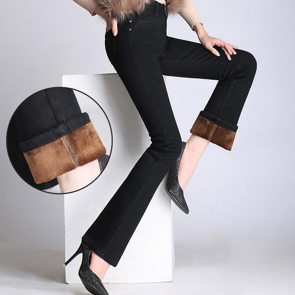 ФОТО New Women Plus Size Winter Flares Boot Cut Jeans High Waist Elastic Denim Plus Velvet Pants Bell-bottom Trousers T900