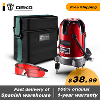 DEKO LL57 5 Lines 6 Points Red Self Leveling Automatic Laser Level 360 Degree Vertical & Horizontal Exterior Mode