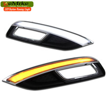 eeMrke Car LED DRL For Kia Cerato K3 2013 2014 Yellow Turn Signal Xenon White DRL Fog Cover Daytime Running Lights Kits