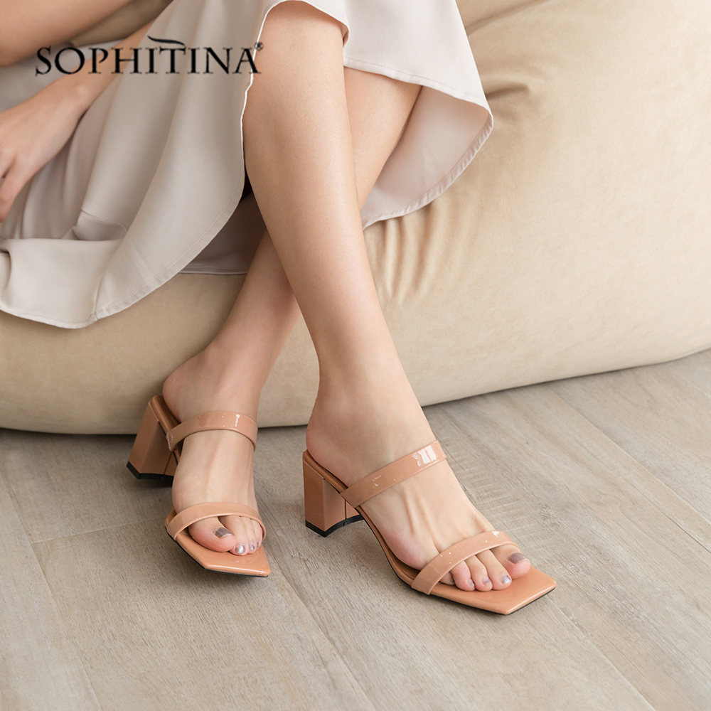SOPHITINA High Quality Sheepskin Sandals Slip On Party Hot Sale Solid Shallow Shoes High Square Heel