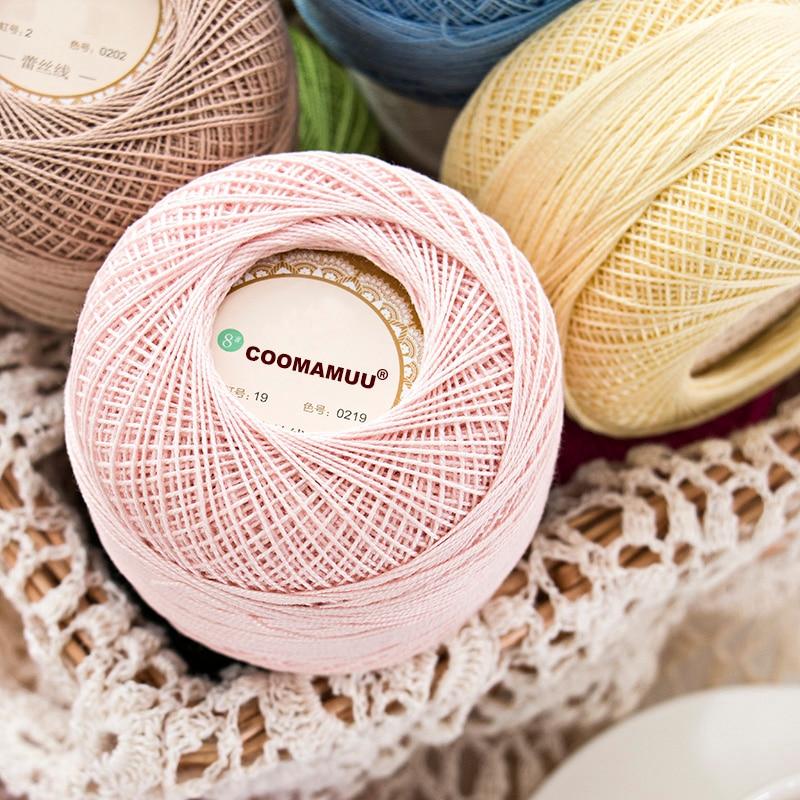 100% Cotton 50g/Pcs  0.8mm Lace Crochet Yarn By 1.5mm Crochet Hooks, Hand-Knitted Baby Silk Thin Yarn For Knitting