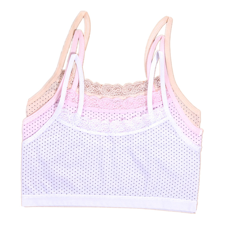 3pcs/lot  Girls Underwear Dots Print Training Bra For Girls White Sports Bra Adolescente Cotton Bra 8-14 Years One Size