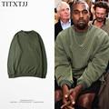 2017 Hip Hop Camisola Hoodies Estilo Kanye West Crewneck Fleece Agasalho Quente Roupas Exército verde