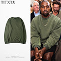 2017 Hip Hop Hoodies Sweatshirt Kanye West Style Crewneck Tracksuit Fleece Warm Clothes Army green