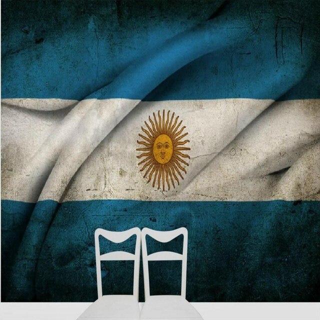 76bdbf63e8f Tamaño personalizado foto 3D mural grande personalidad retro Argentina  bandera icono TV Fondo sofá dormitorio comedor